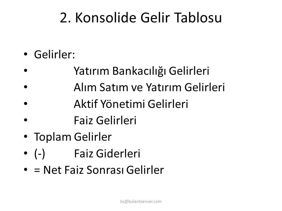 2. Konsolide Gelir Tablosu