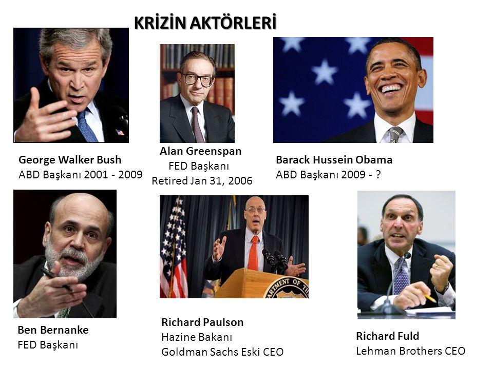 KRİZİN AKTÖRLERİ Alan Greenspan FED Başkanı Retired Jan 31, 2006