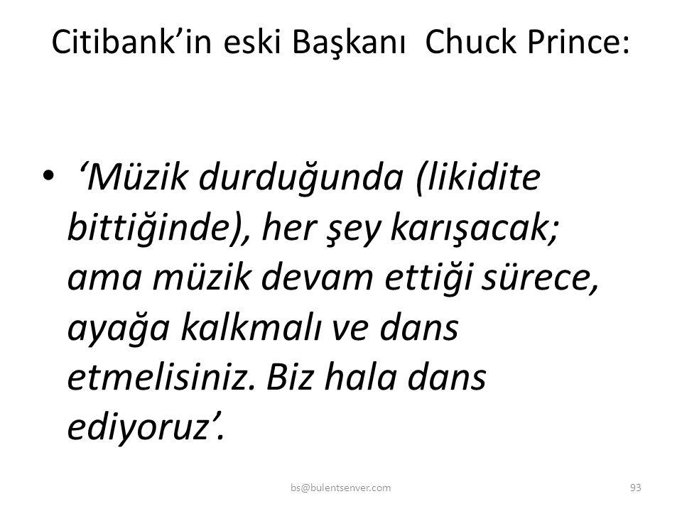 Citibank'in eski Başkanı Chuck Prince: