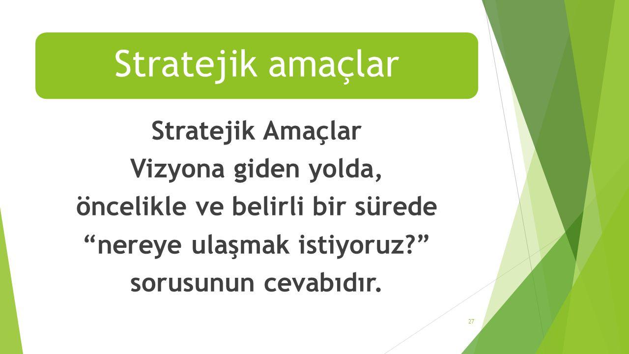 Stratejik amaçlar Stratejik Amaçlar Vizyona giden yolda, öncelikle ve belirli bir sürede nereye ulaşmak istiyoruz sorusunun cevabıdır.