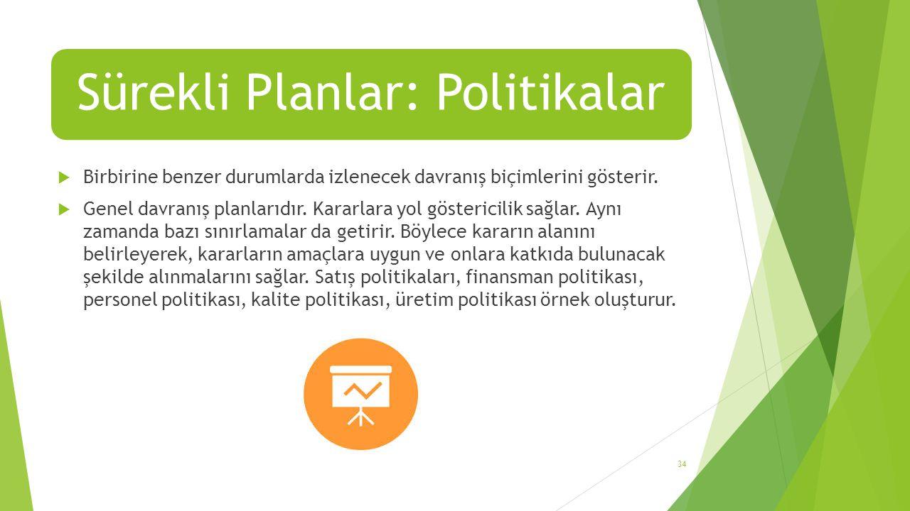 Sürekli Planlar: Politikalar