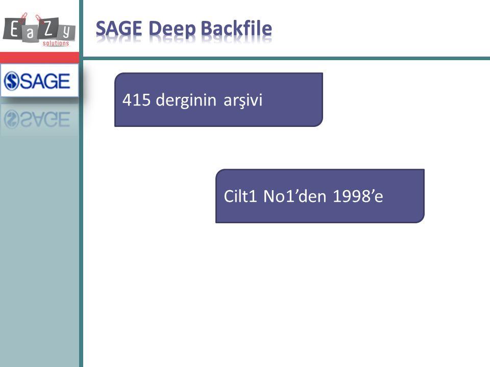 SAGE Deep Backfile 415 derginin arşivi Cilt1 No1'den 1998'e