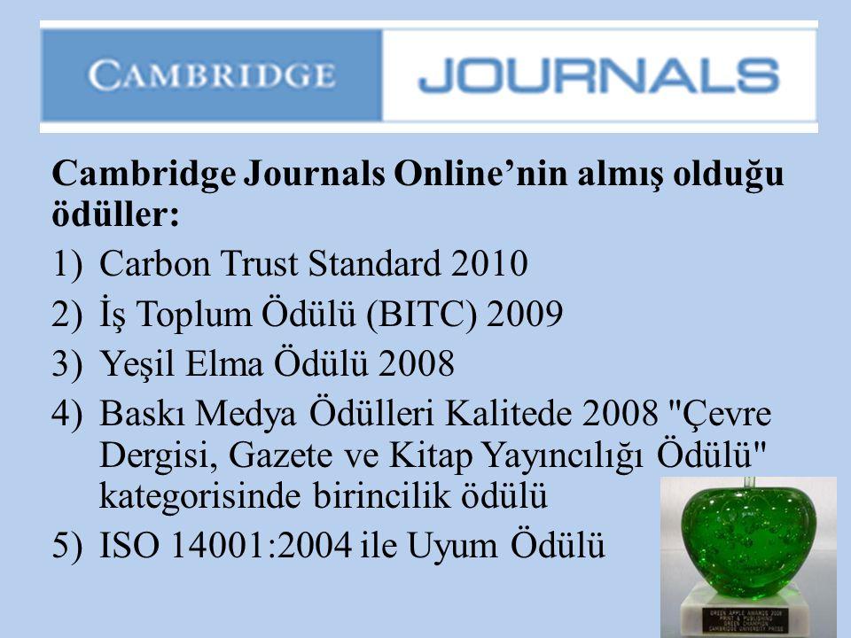 Cambridge Journals Online'nin almış olduğu ödüller:
