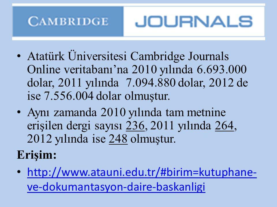 Atatürk Üniversitesi Cambridge Journals Online veritabanı'na 2010 yılında 6.693.000 dolar, 2011 yılında 7.094.880 dolar, 2012 de ise 7.556.004 dolar olmuştur.