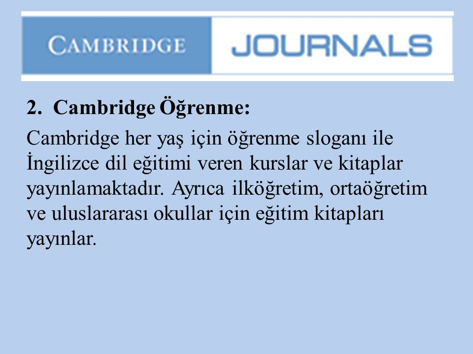 2. Cambridge Öğrenme: