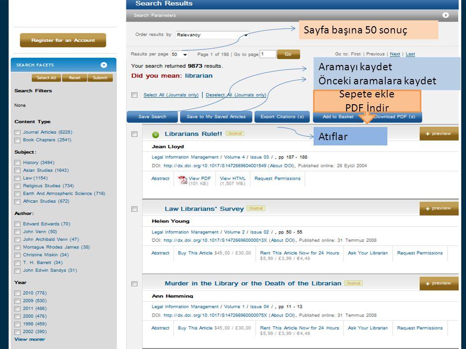 Sayfa başına 50 sonuç Aramayı kaydet Önceki aramalara kaydet Sepete ekle PDF İndir Atıflar