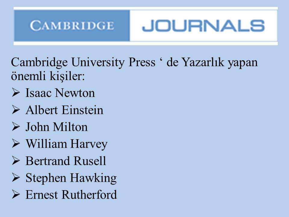 Cambridge University Press ' de Yazarlık yapan önemli kişiler: