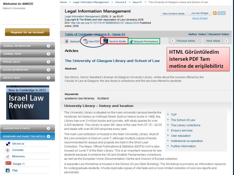 HTML Görüntüledim istersek PDF Tam metine de erişilebiliriz