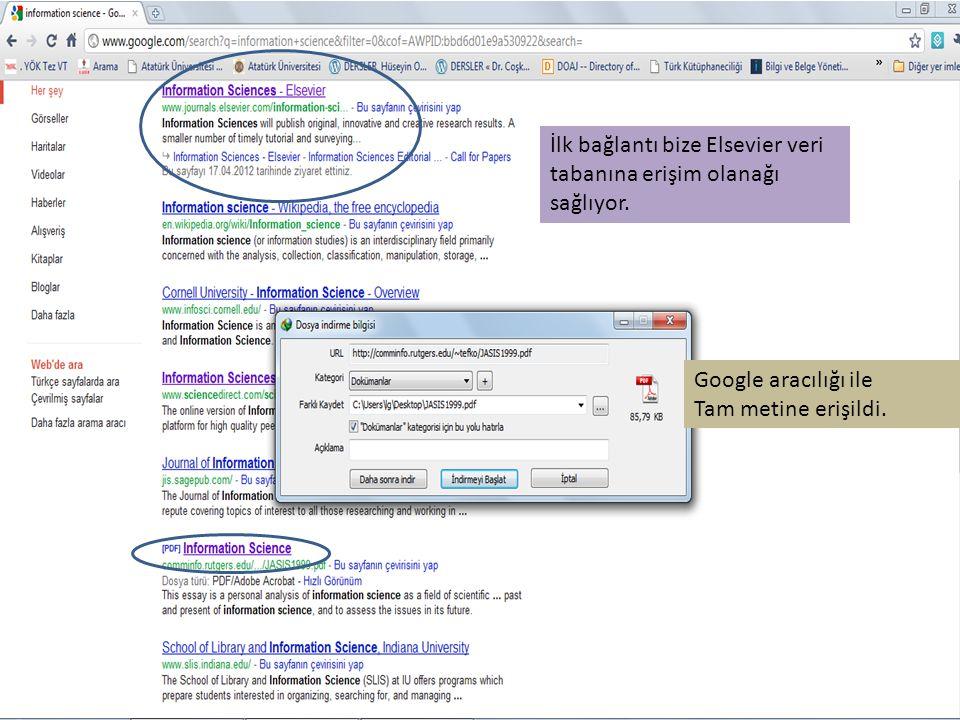 İlk bağlantı bize Elsevier veri tabanına erişim olanağı sağlıyor.