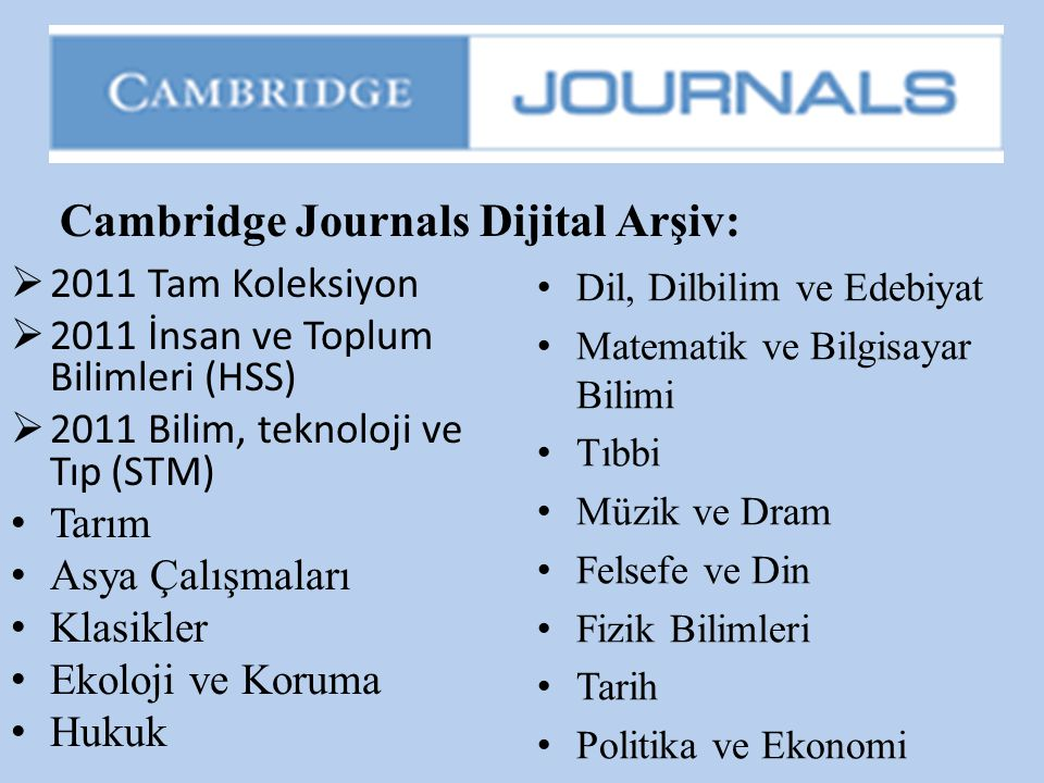 Cambridge Journals Dijital Arşiv: