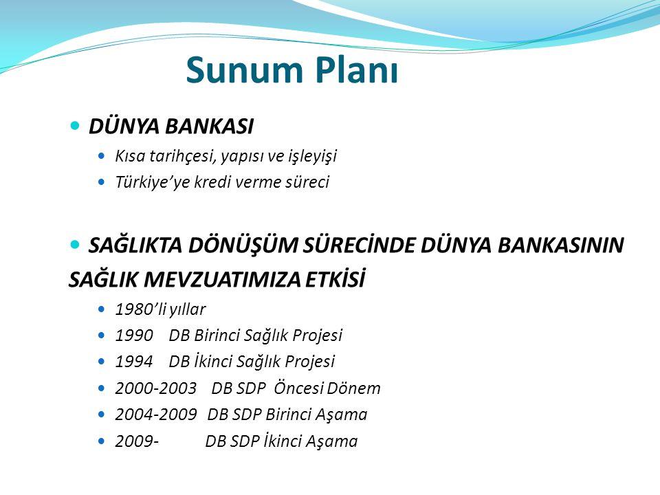 Sunum Planı DÜNYA BANKASI SAĞLIKTA DÖNÜŞÜM SÜRECİNDE DÜNYA BANKASININ