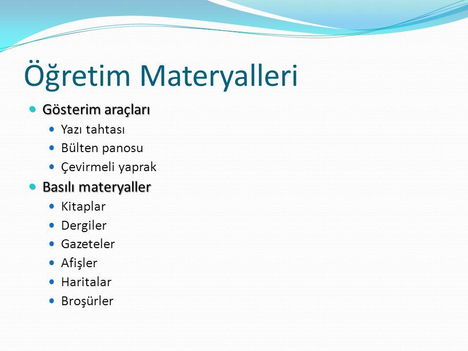 Öğretim Materyalleri Gösterim araçları Basılı materyaller Yazı tahtası