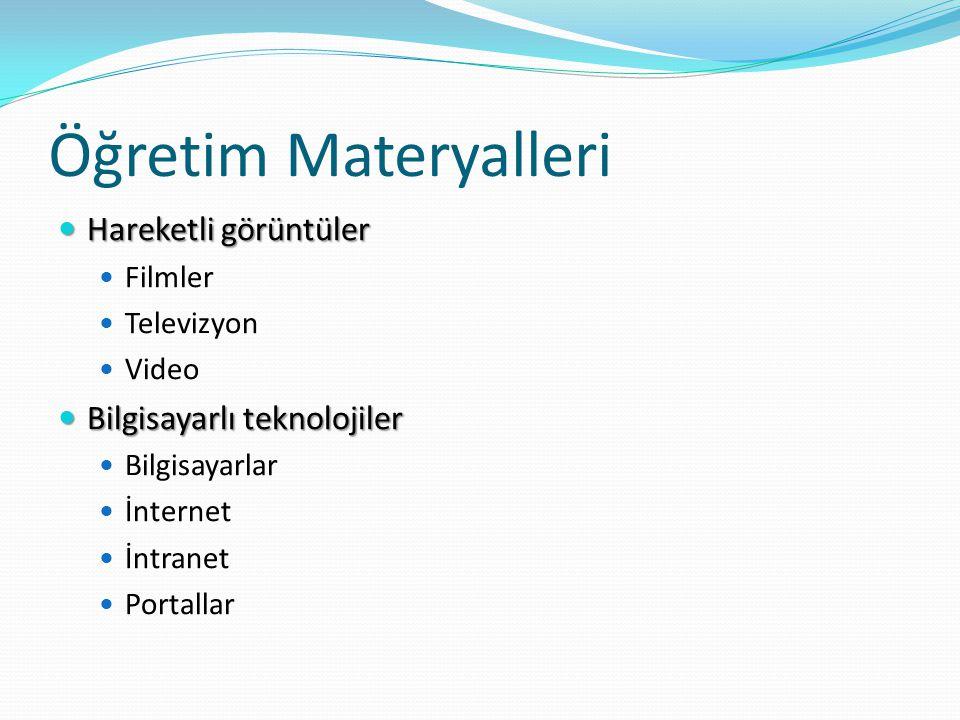 Öğretim Materyalleri Hareketli görüntüler Bilgisayarlı teknolojiler