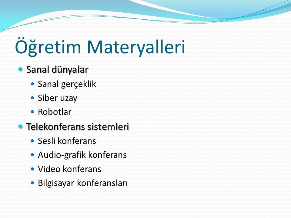 Öğretim Materyalleri Sanal dünyalar Telekonferans sistemleri
