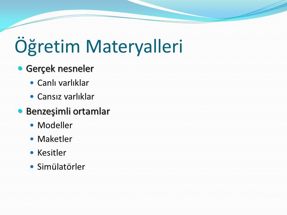 Öğretim Materyalleri Gerçek nesneler Benzeşimli ortamlar