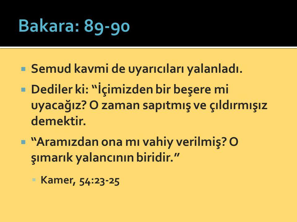 Bakara: 89-90 Semud kavmi de uyarıcıları yalanladı.