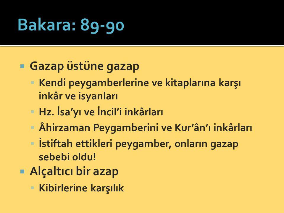 Bakara: 89-90 Gazap üstüne gazap Alçaltıcı bir azap