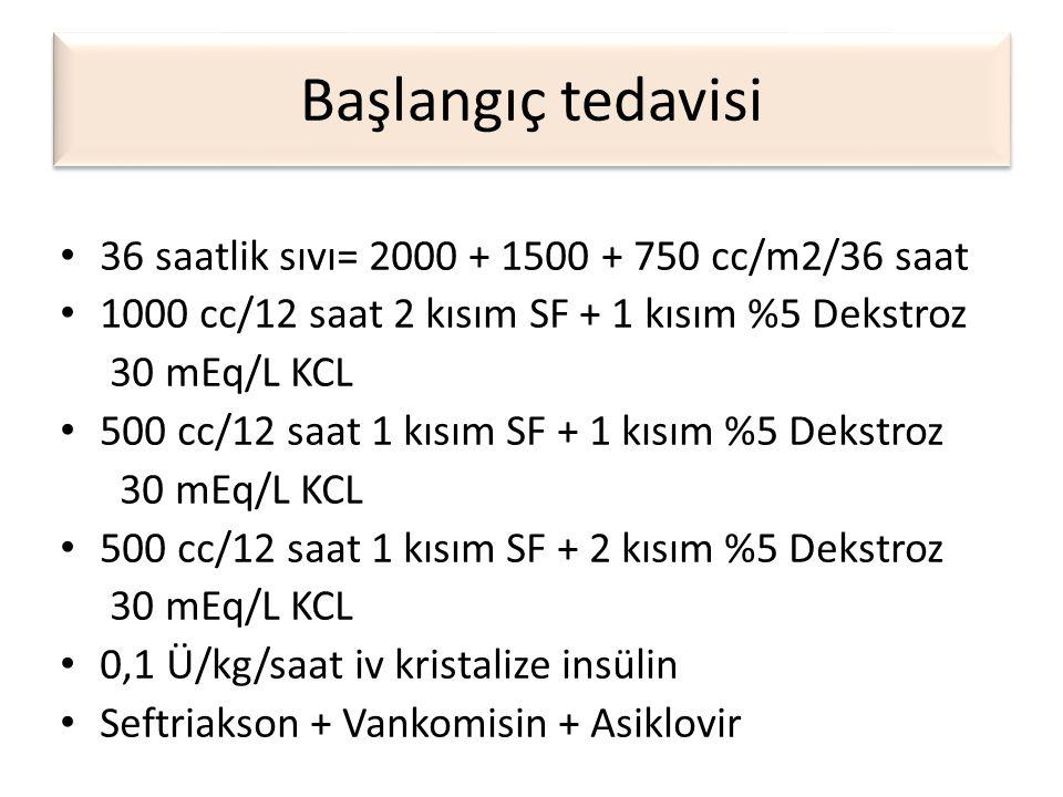 Başlangıç tedavisi 36 saatlik sıvı= 2000 + 1500 + 750 cc/m2/36 saat