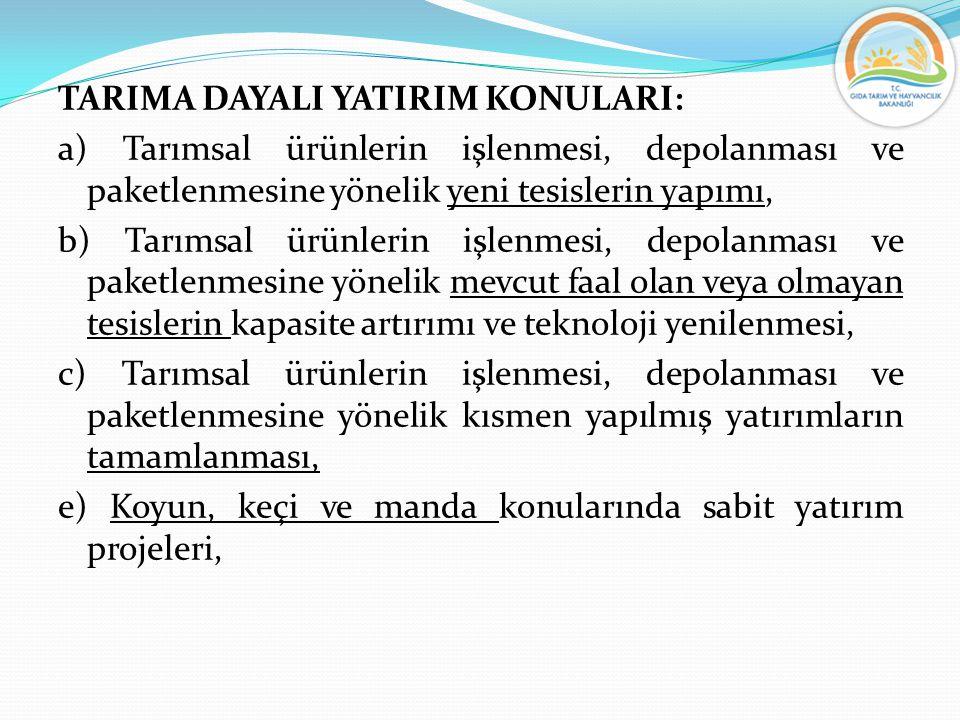 TARIMA DAYALI YATIRIM KONULARI: