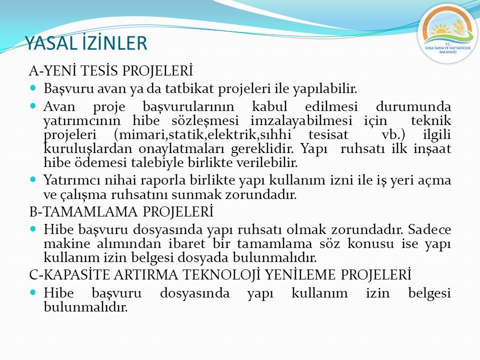 YASAL İZİNLER A-YENİ TESİS PROJELERİ