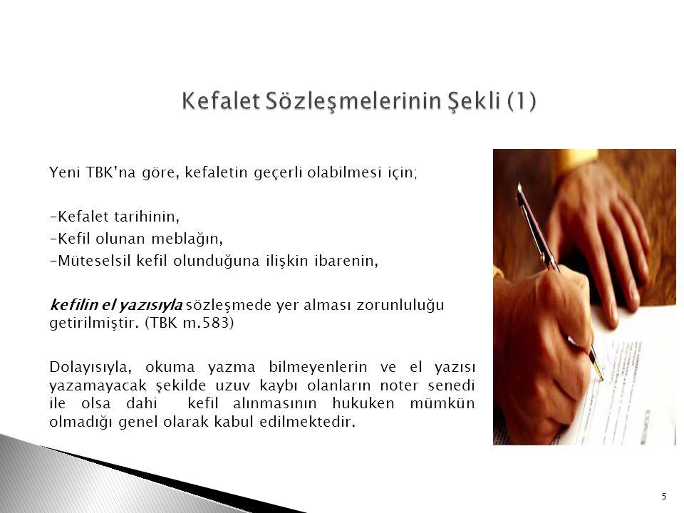 Kefalet Sözleşmelerinin Şekli (1)