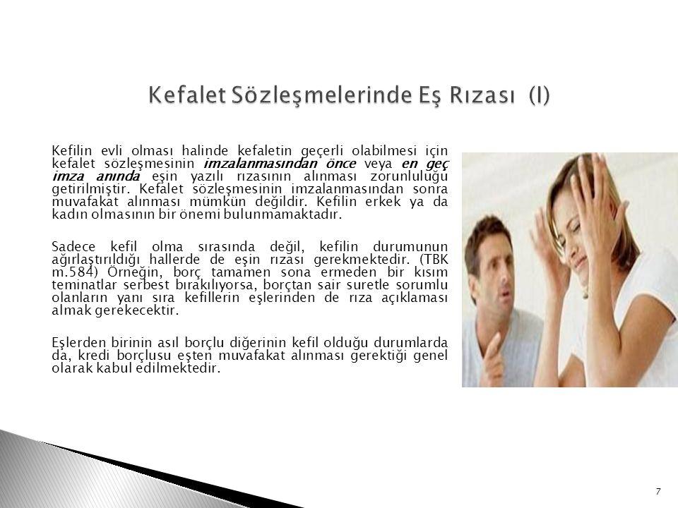 Kefalet Sözleşmelerinde Eş Rızası (I)