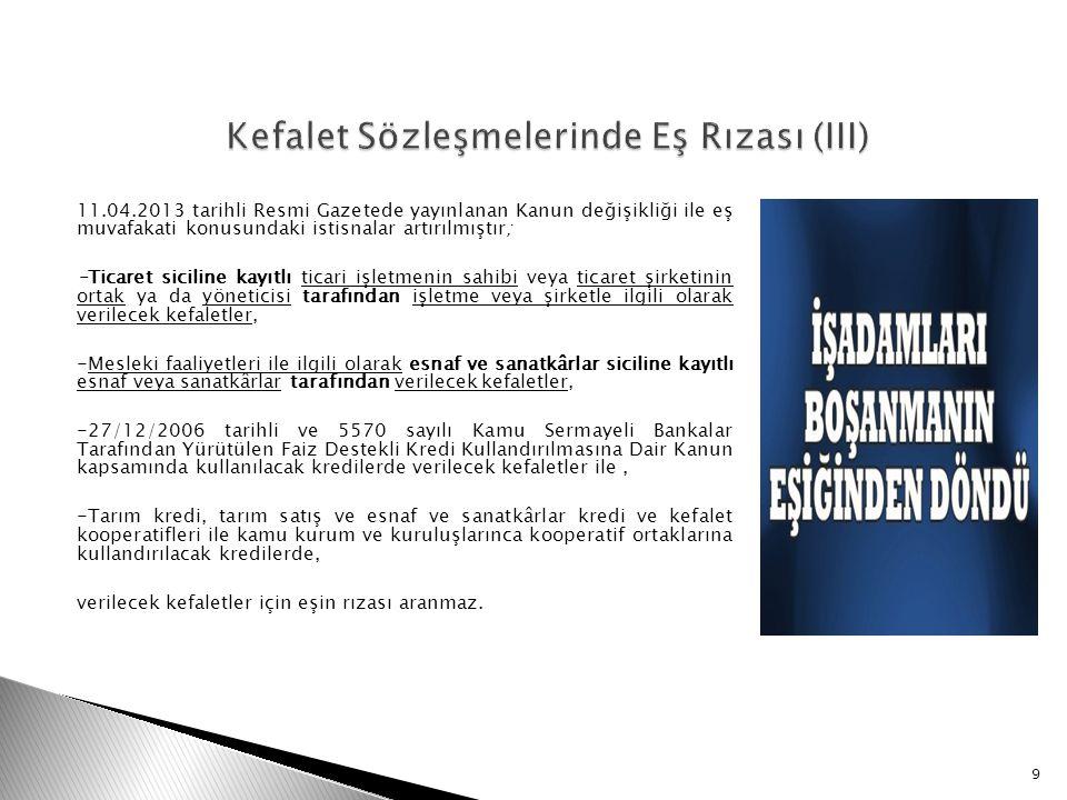Kefalet Sözleşmelerinde Eş Rızası (III)