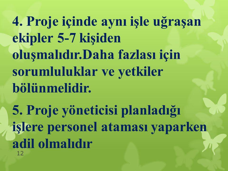 4. Proje içinde aynı işle uğraşan ekipler 5-7 kişiden oluşmalıdır