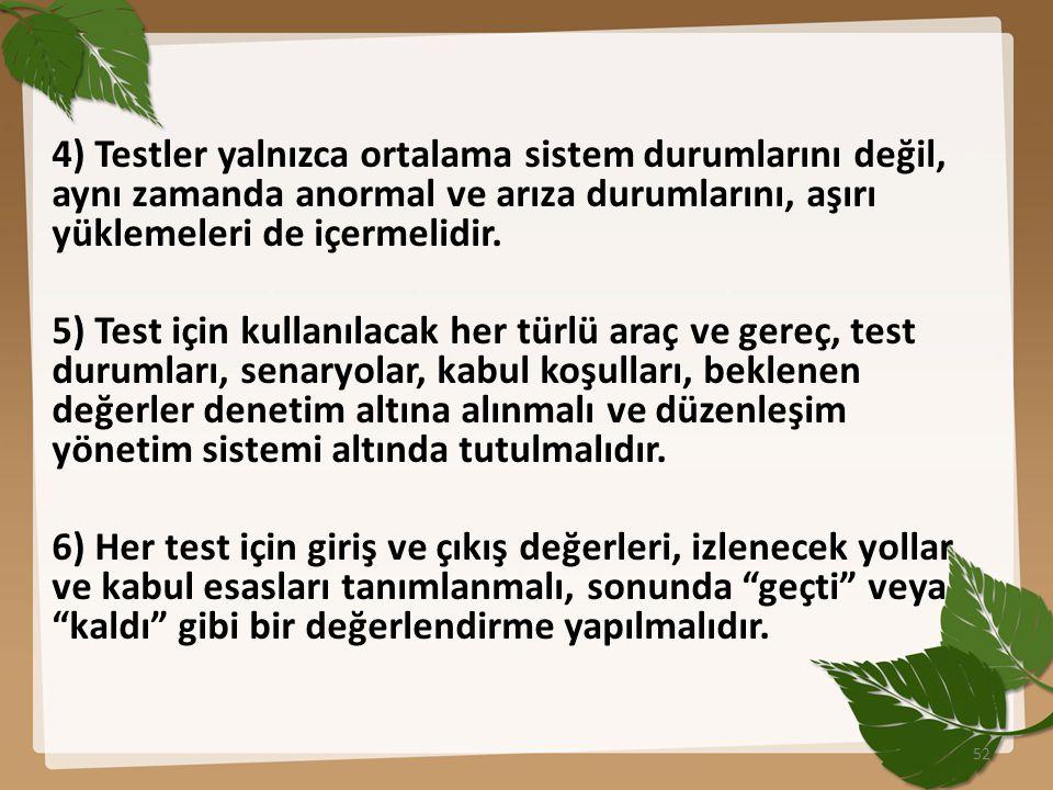 4) Testler yalnızca ortalama sistem durumlarını değil, aynı zamanda anormal ve arıza durumlarını, aşırı yüklemeleri de içermelidir.