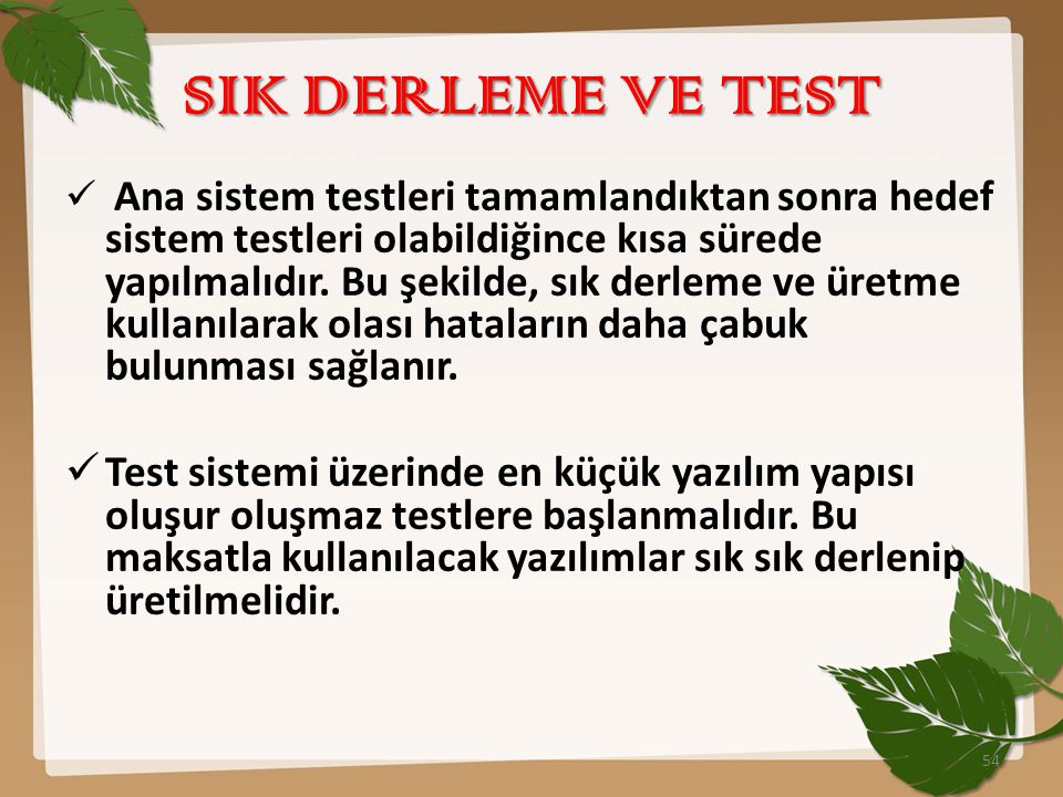SIK DERLEME VE TEST