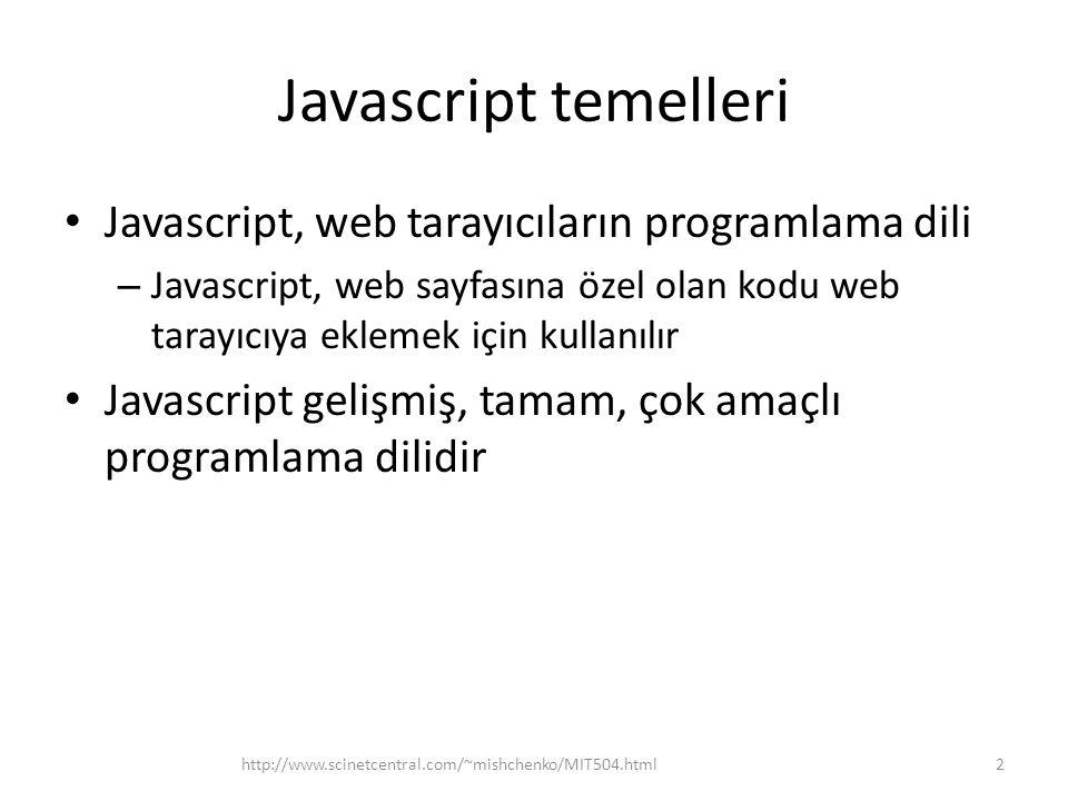 Javascript temelleri Javascript, web tarayıcıların programlama dili
