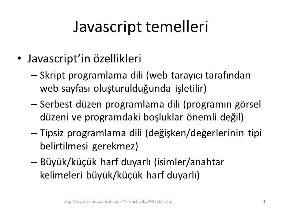 Javascript temelleri Javascript'in özellikleri