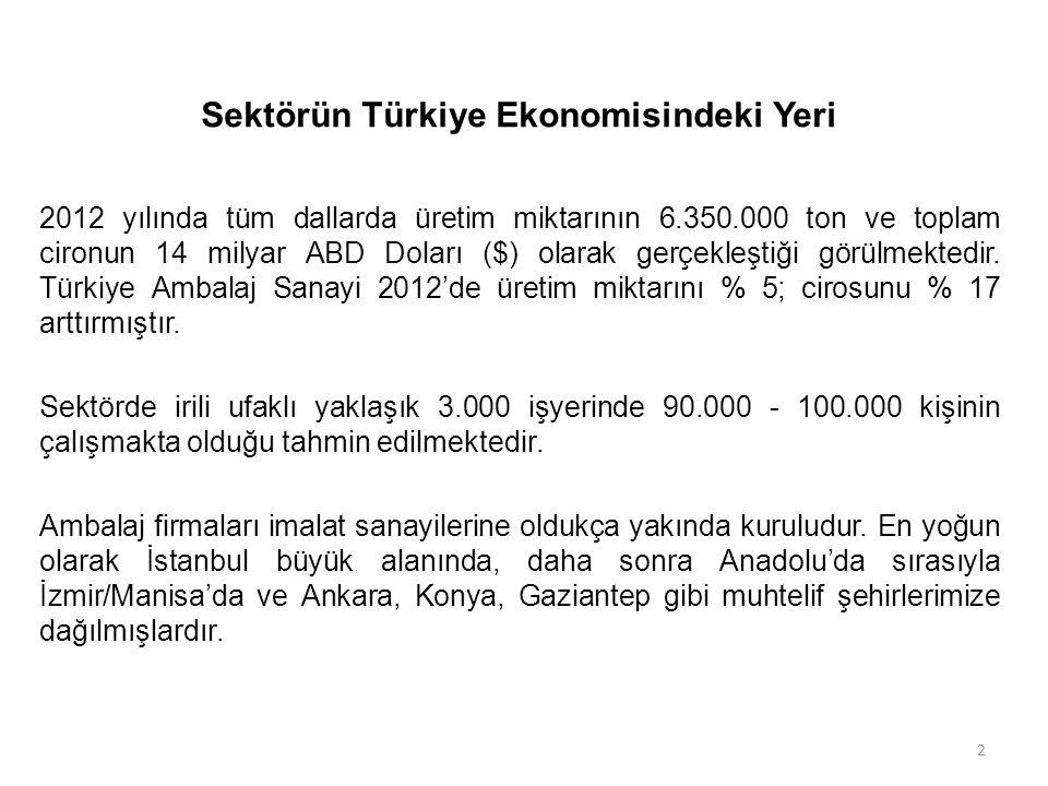 Sektörün Türkiye Ekonomisindeki Yeri