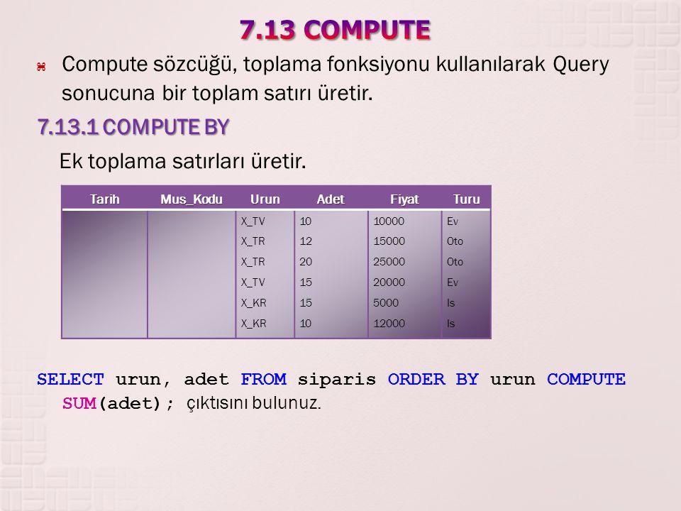 7.13 COMPUTE Compute sözcüğü, toplama fonksiyonu kullanılarak Query sonucuna bir toplam satırı üretir.