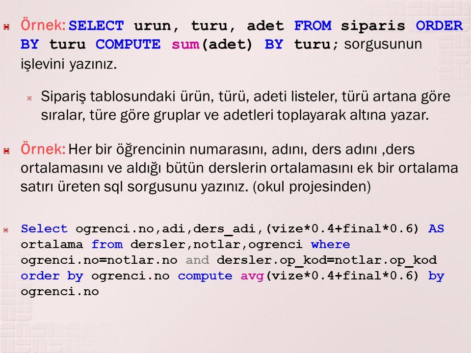 Örnek: SELECT urun, turu, adet FROM siparis ORDER BY turu COMPUTE sum(adet) BY turu; sorgusunun işlevini yazınız.