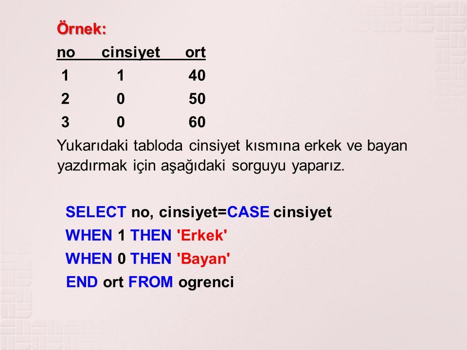 Örnek: no cinsiyet ort. 1 1 40. 2 0 50. 3 0 60.