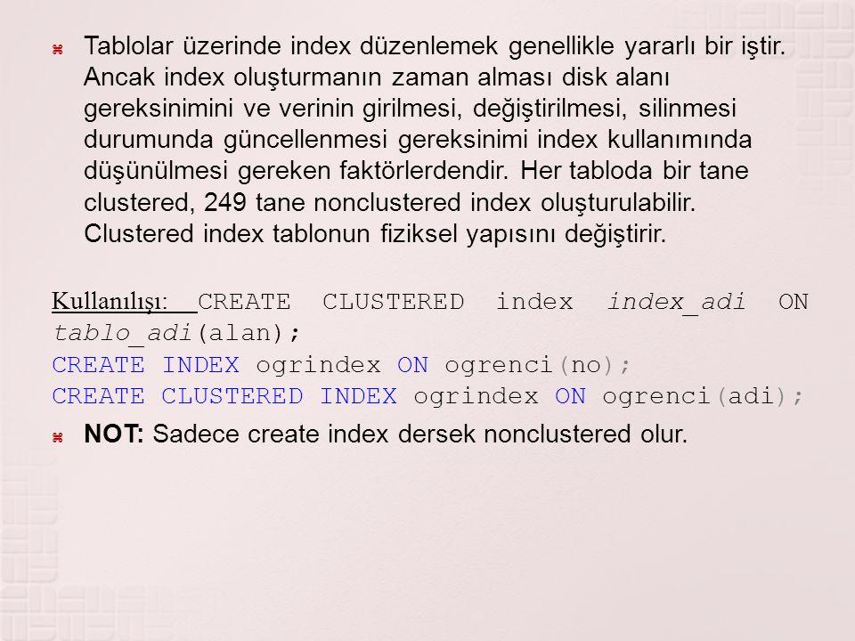Tablolar üzerinde index düzenlemek genellikle yararlı bir iştir