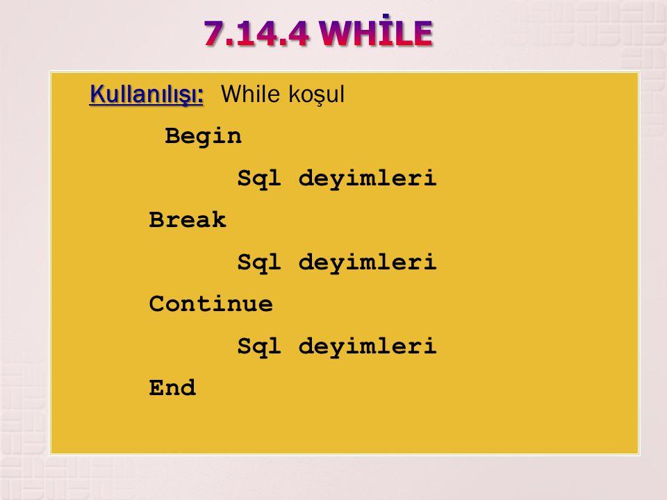 7.14.4 WHİLE Kullanılışı: While koşul Begin Sql deyimleri Break