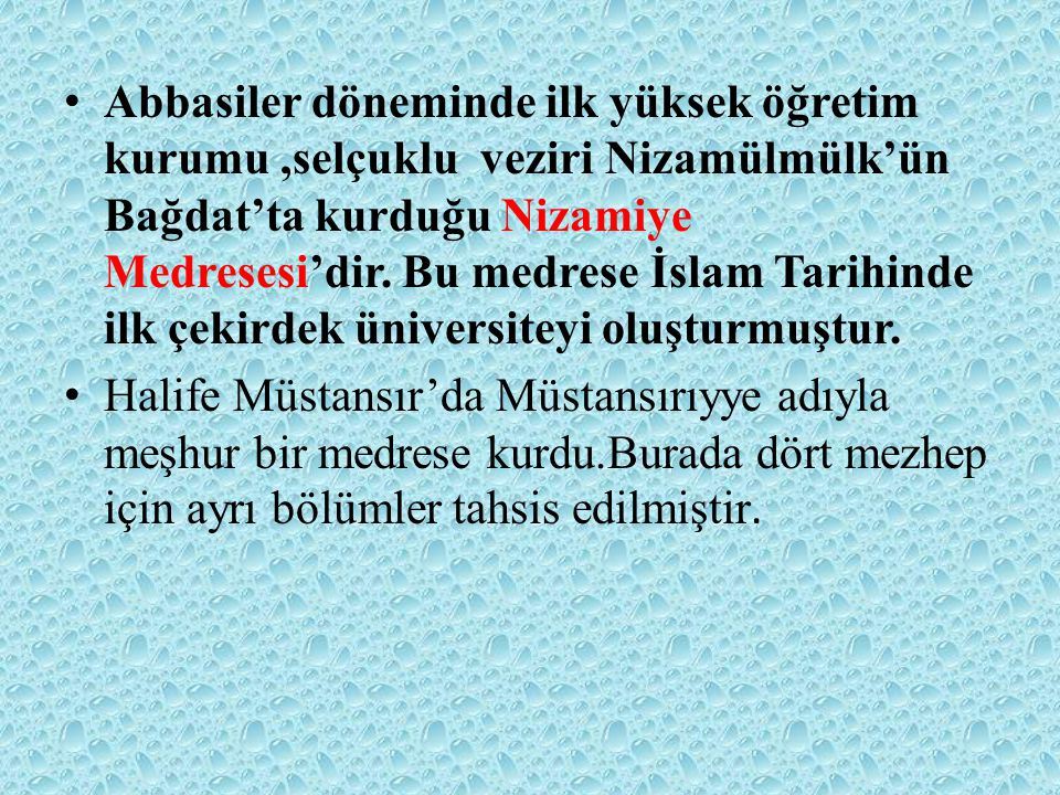 Abbasiler döneminde ilk yüksek öğretim kurumu ,selçuklu veziri Nizamülmülk'ün Bağdat'ta kurduğu Nizamiye Medresesi'dir. Bu medrese İslam Tarihinde ilk çekirdek üniversiteyi oluşturmuştur.