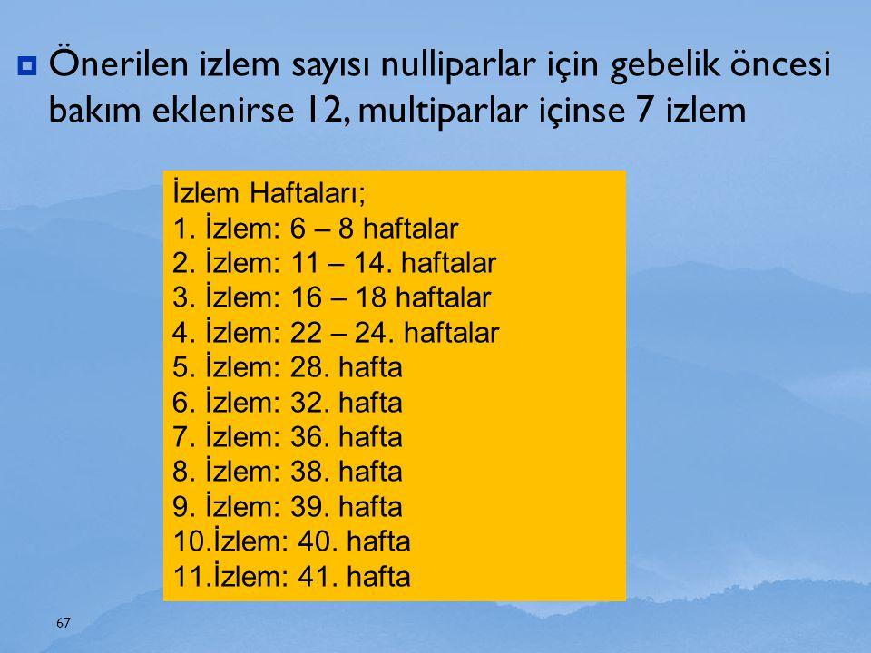 Önerilen izlem sayısı nulliparlar için gebelik öncesi bakım eklenirse 12, multiparlar içinse 7 izlem