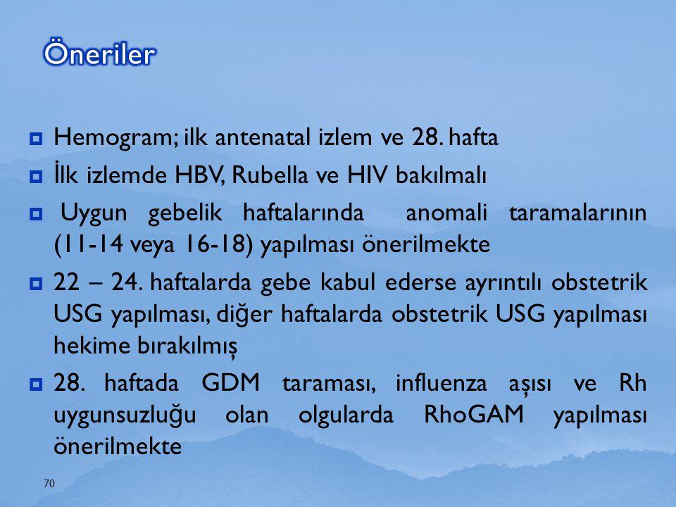 Öneriler Hemogram; ilk antenatal izlem ve 28. hafta