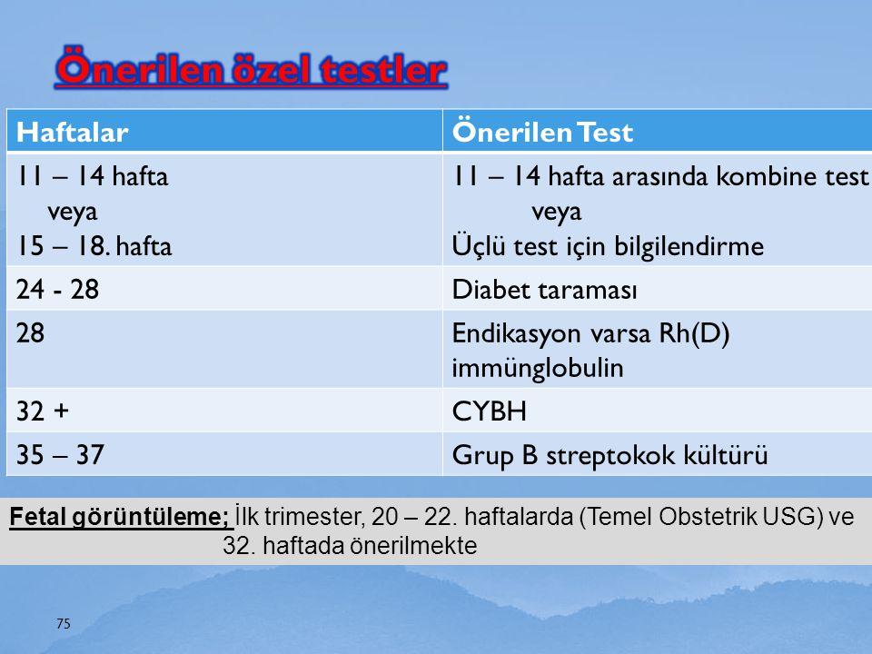 Önerilen özel testler Haftalar Önerilen Test 11 – 14 hafta veya