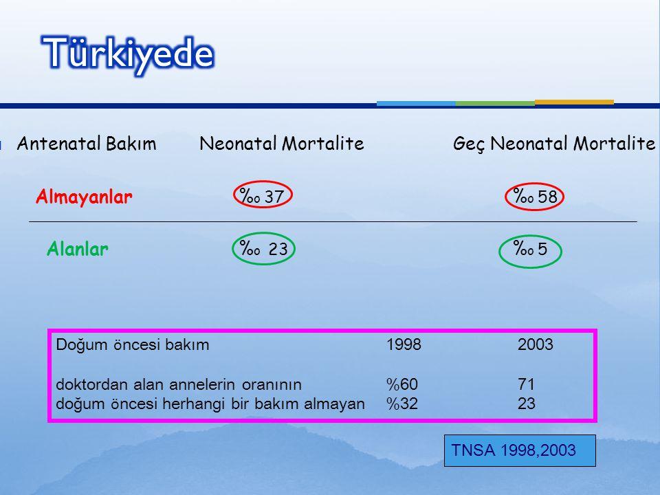 Türkiyede Antenatal Bakım Neonatal Mortalite Geç Neonatal Mortalite