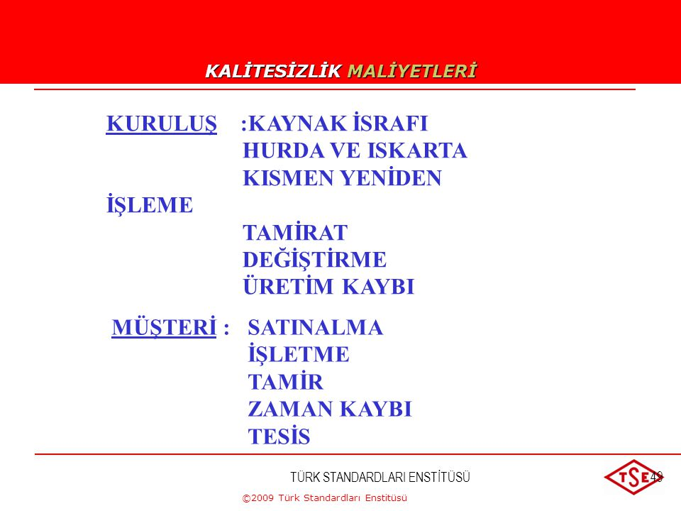 KALİTESİZLİK MALİYETLERİ