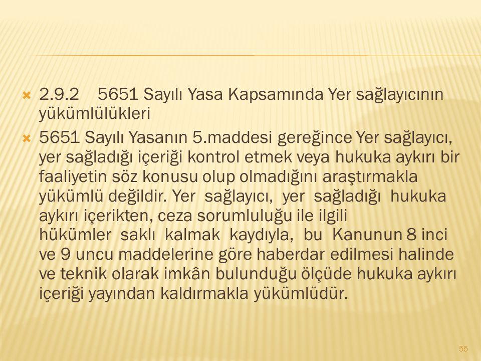 2.9.2 5651 Sayılı Yasa Kapsamında Yer sağlayıcının yükümlülükleri