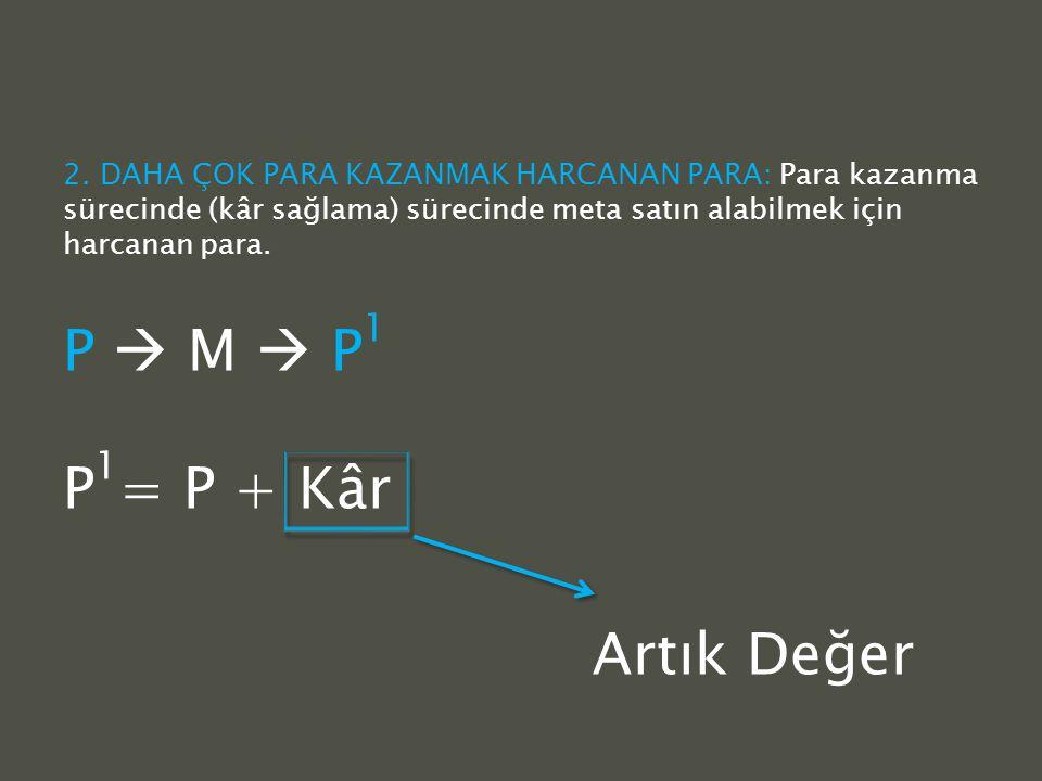 P  M  P1 P1= P + Kâr Artık Değer