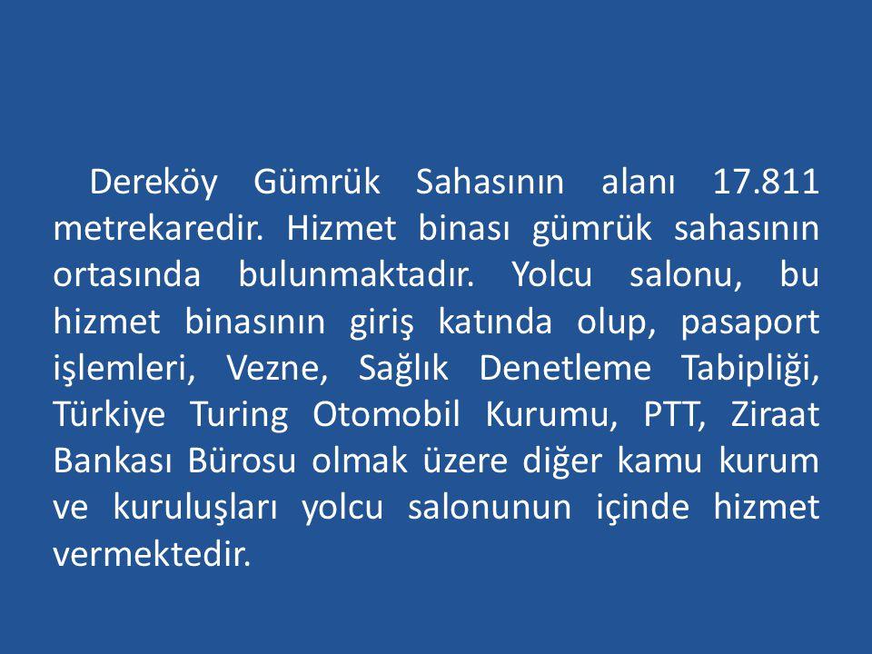 Dereköy Gümrük Sahasının alanı 17. 811 metrekaredir