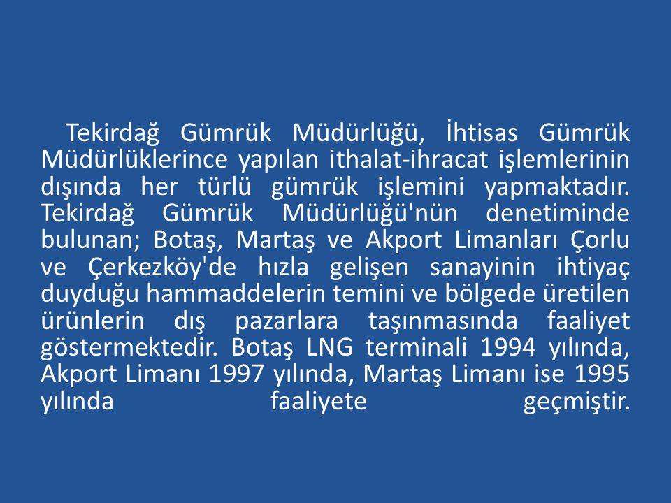 Tekirdağ Gümrük Müdürlüğü, İhtisas Gümrük Müdürlüklerince yapılan ithalat-ihracat işlemlerinin dışında her türlü gümrük işlemini yapmaktadır.