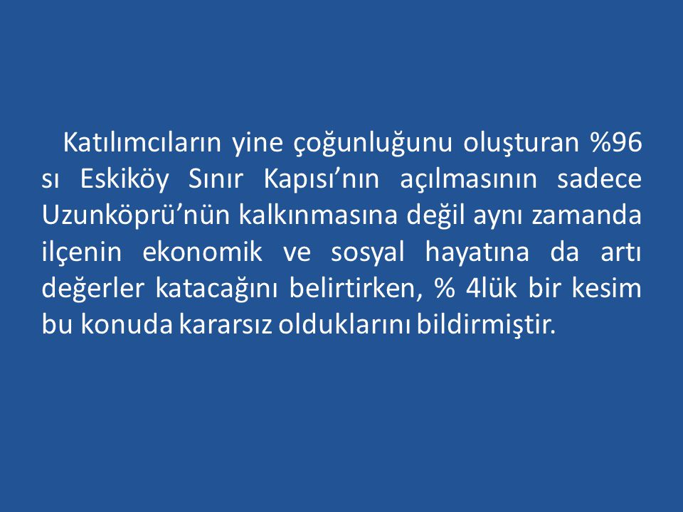Katılımcıların yine çoğunluğunu oluşturan %96 sı Eskiköy Sınır Kapısı'nın açılmasının sadece Uzunköprü'nün kalkınmasına değil aynı zamanda ilçenin ekonomik ve sosyal hayatına da artı değerler katacağını belirtirken, % 4lük bir kesim bu konuda kararsız olduklarını bildirmiştir.