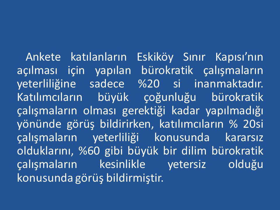 Ankete katılanların Eskiköy Sınır Kapısı'nın açılması için yapılan bürokratik çalışmaların yeterliliğine sadece %20 si inanmaktadır.
